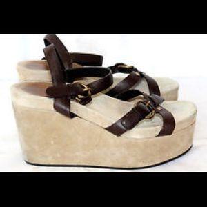 •Miu Miu• Suede Platform Wedge Sandal
